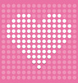 heart of dots on a pink background vector image vector image