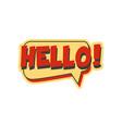 hello short phrase speech bubble in retro style vector image