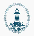lighthouse in circle chains engraving emblem vector image vector image