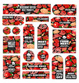 meat sale tags with sausage ham salami bacon vector image vector image