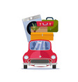 moving home concept red vintage car vector image vector image
