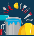 paint pot with under construction equipment vector image