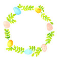 pastel eggs and fern wreath watercolor vector image vector image