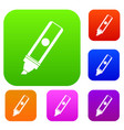permanent marker set color collection vector image vector image
