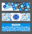 plumbing banners design vector image vector image