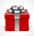 red gift box with gray ribbon vector image vector image