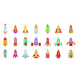 rocket icon set cartoon style vector image