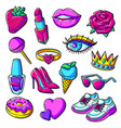 set fashion girlish patches colorful cute vector image