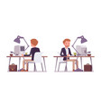 set of dandy sitting at the desk rear front view vector image vector image