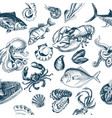 sketch - fish pattern vector image vector image