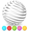 striped spheres in 6 colors vector image