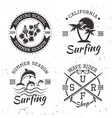 surfing set of four black vintage emblems vector image vector image