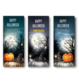 Three Holiday Halloween Banners with Pumpkins vector image vector image