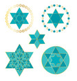 turquoise blue and gold jewish stars vector image vector image