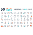 Vegetables and Fruit Line Icons 2 vector image vector image