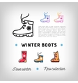 Winter boots thin line icons Sport shoes Ugg vector image