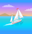 yacht with white canvas sailing in deep waters vector image vector image