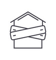 bankruptcyboarded-up house line icon sign vector image
