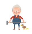 Senior Farmer with Ducks Cartoon Character vector image