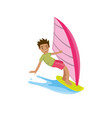 a man look happy in the surfing board when summer vector image vector image