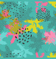 abstract maple leaves seamless pattern in bright