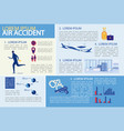 air accident or aviation disaster infographic set vector image