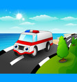 ambulance car cartoon in th vector image