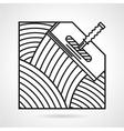 Black line icon for spatula vector image