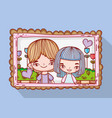 boy and girl couple with flower in the picture vector image