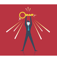 Businessman holding golden key secret of success vector image
