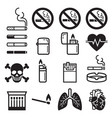 cigarette icons vector image vector image