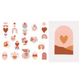 collection boho valentines day symbols and vector image