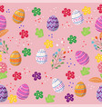 cute easter eggs seamless pattern with coulerful vector image