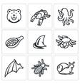 Delicatessen food icons set vector image vector image