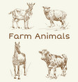 doodle animals farm animals vintage set vector image vector image