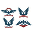 eagle and ribbon emblem set vector image vector image