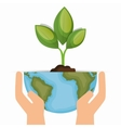 Enviornment symbol hand hold world and plant