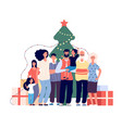family at christmas tree smiling adults and kids vector image vector image