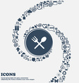 Fork and spoon crosswise Cutlery Eat icon sign in vector image vector image