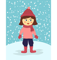 Girl Wear Pink Winter Suit vector image
