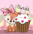 greeting card cute fox with cake vector image