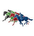 group jockeys riding horse sport vector image vector image