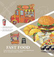 hand drawn fast food template vector image vector image