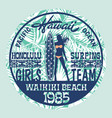 hawaii surfing girls team vector image vector image