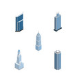 isometric skyscraper set of cityscape business vector image