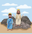 jesus the nazarene and philip in scene in desert vector image vector image