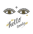 ladys open eyes looking with golden eyelashes vector image