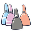 light colors nailpolish on white background vector image vector image