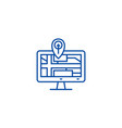 navigation monitor with map line icon concept vector image vector image