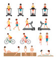 people at the gym exercising vector image